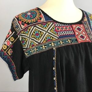 Johnny Was dress | black embroidered | size Large